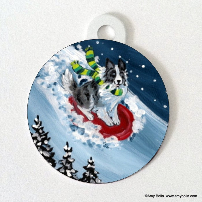 DOUBLE SIDED PET ID TAG · THE SLED RIDE · BI BLUE SHELTIE · AMY BOLIN
