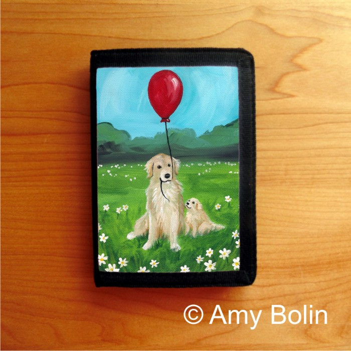 TRIFOLD WALLET · A GOLDEN AFTERNOON · GOLDEN RETRIEVER · AMY BOLIN