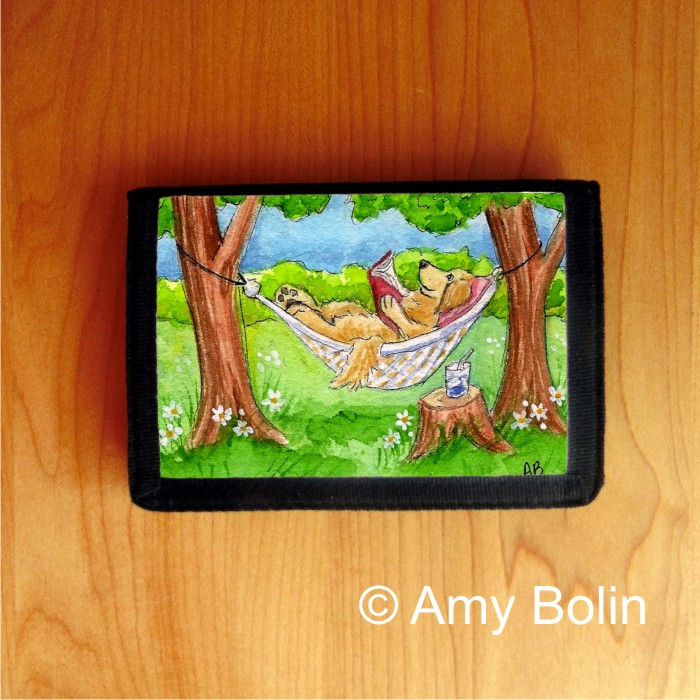 TRIFOLD WALLET · SUMMER IS FOR READING · GOLDEN RETRIEVER · AMY BOLIN
