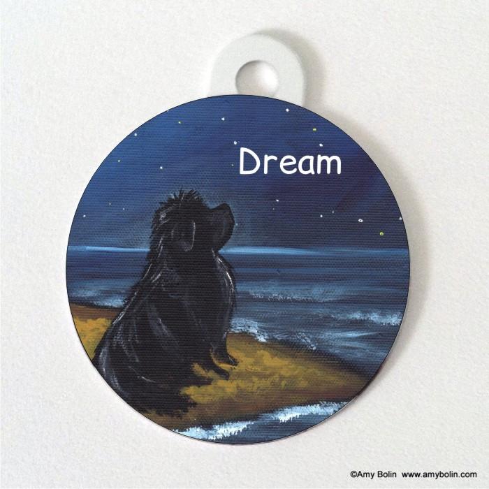 DOUBLE SIDED PET ID TAG · DREAM · BLACK NEWFOUNDLAND · AMY BOLIN