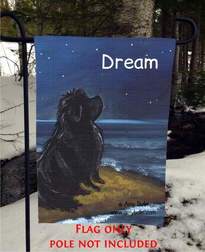 GARDEN FLAG · DREAM · BLACK NEWFOUNDLAND · AMY BOLIN