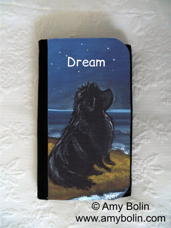 LARGE ORGANIZER WALLET · DREAM · BLACK NEWFOUNDLAND · AMY BOLIN