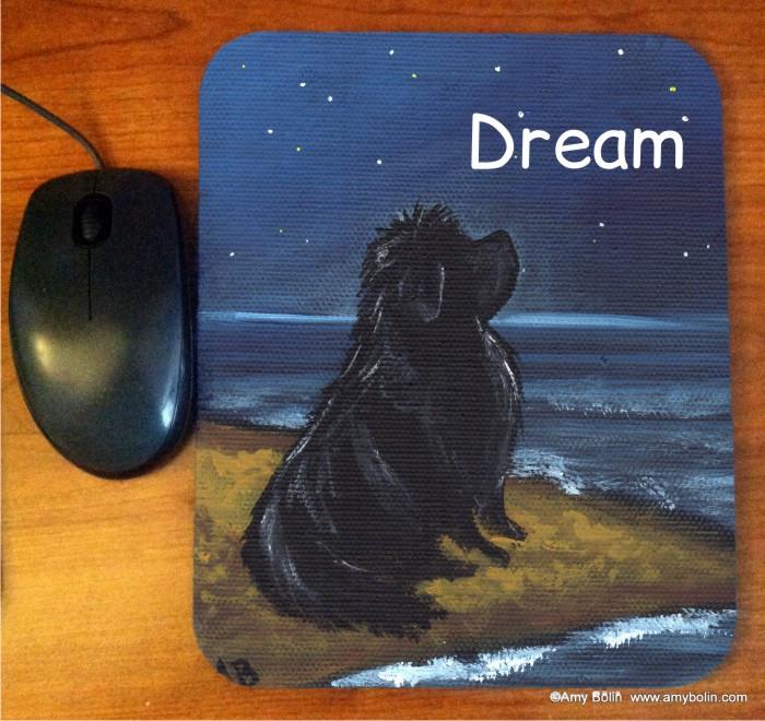 MOUSE PAD · DREAM · BLACK NEWFOUNDLAND · AMY BOLIN
