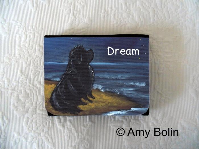 SMALL ORGANIZER WALLET · DREAM · BLACK NEWFOUNDLAND · AMY BOLIN