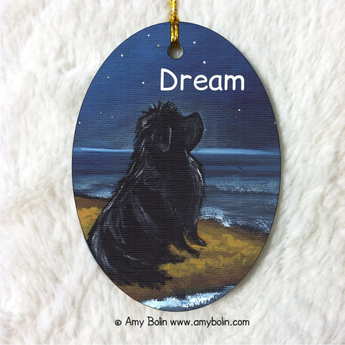 OVAL SHAPED CERAMIC ORNAMENT · DREAM · BLACK NEWFOUNDLAND · AMY BOLIN