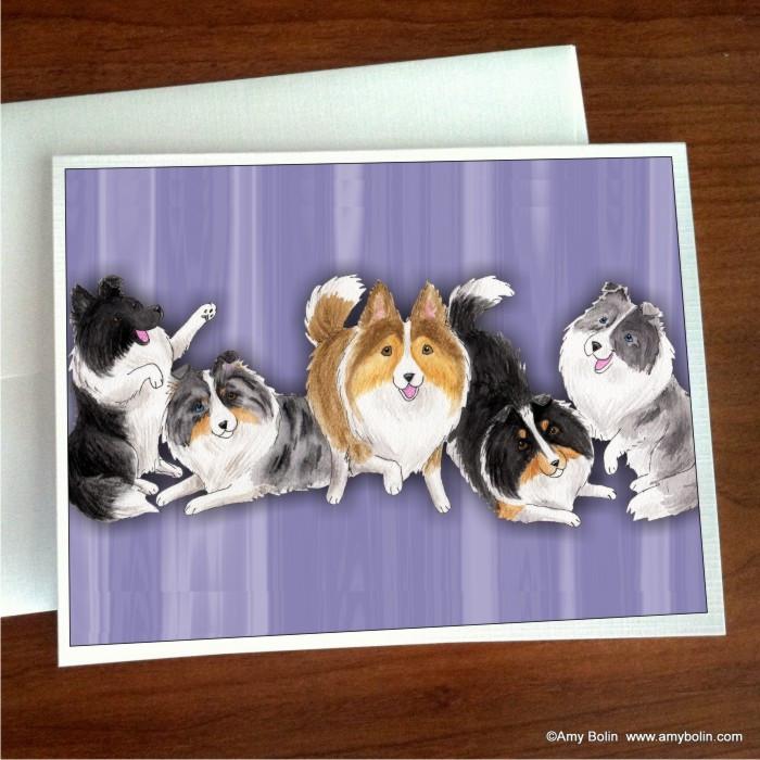 NOTE CARDS · SHADES OF SHELTIES (purple) · BI BLACK, BI BLUE, BLUE MERLE, SABLE, TRI COLOR SHELTIE · AMY BOLIN