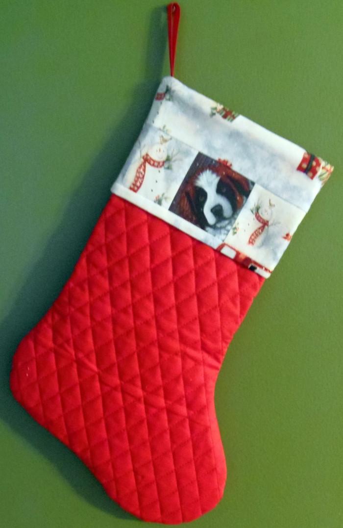 "Handmade Stocking     ""My First Winter""     Saint Bernard Dog    By  Dawn Johnson"