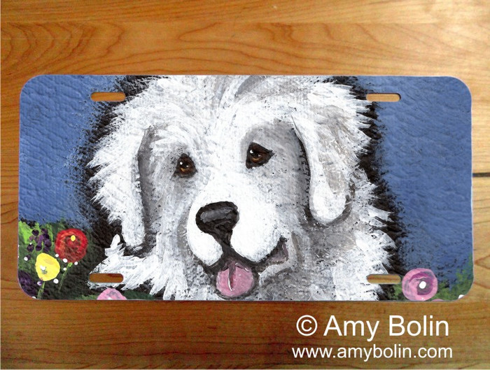 LICENSE PLATE · MOM'S FAVORITE FLOWER · GREAT PYRENEES · AMY BOLIN