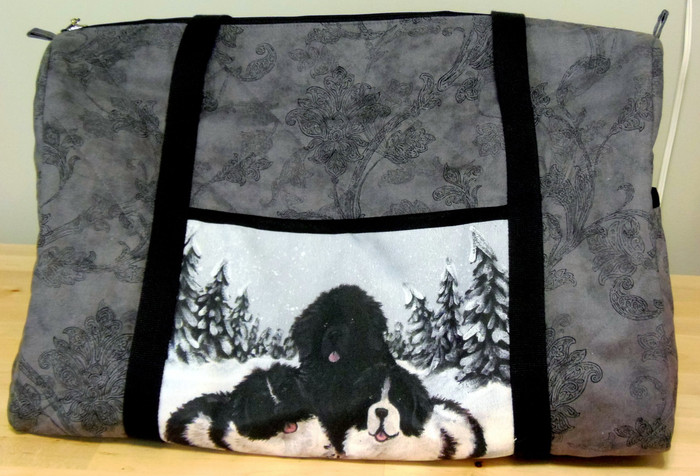"Handmade quilted  Duffel bag            ""Winter Buddies 2""        Black , Landseer Newfoundland          By Dawn Johnson"