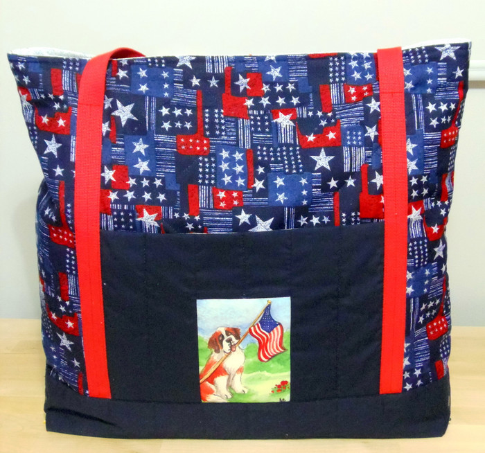 "Handmade quilted Purse/Tote      ""Proud To Be American""      Saint Bernard        By Dawn Johnson"
