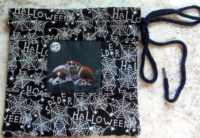 "MINI 8"" by 8""   Handmade Gift Bag          ""Camping Out""         Saint Bernard        By Dawn Johnson"