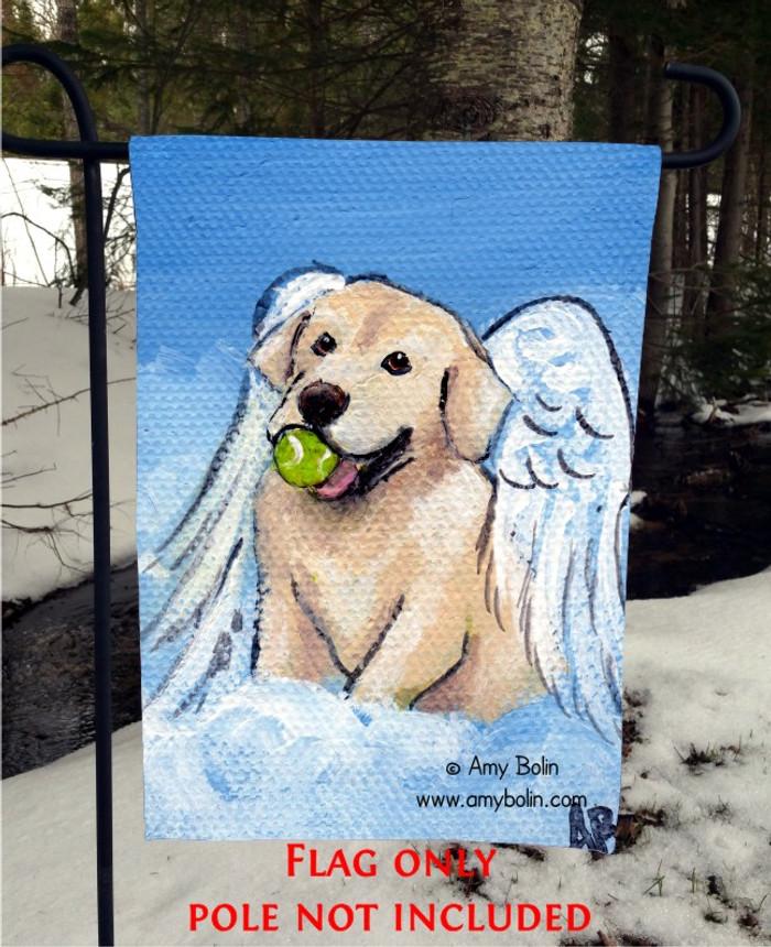"""Playful Angel"" Yellow Labrador Retriever Garden Flag"