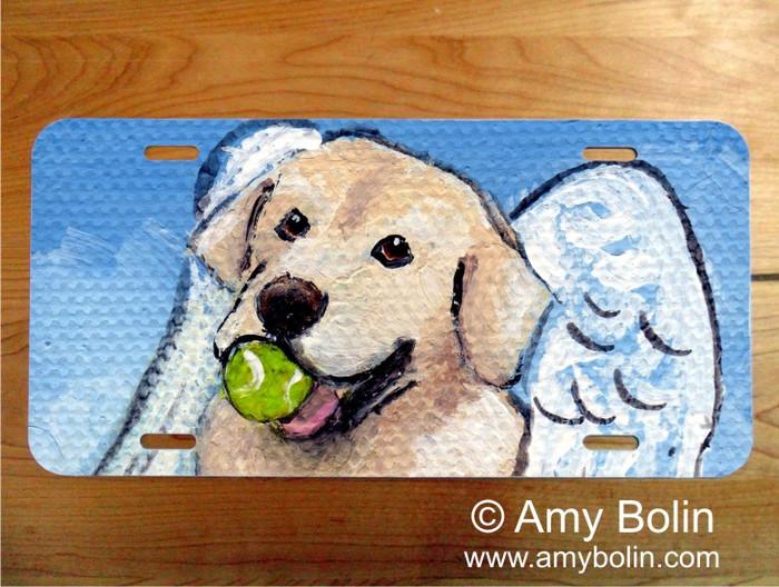 """Playful Angel"" Yellow Labrador Retriever License Plate"