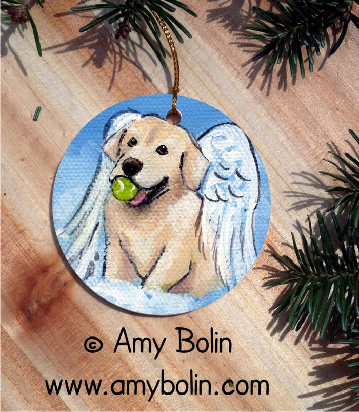 """Playful Angel"" Yellow Labrador Retriever Ceramic Ornament"