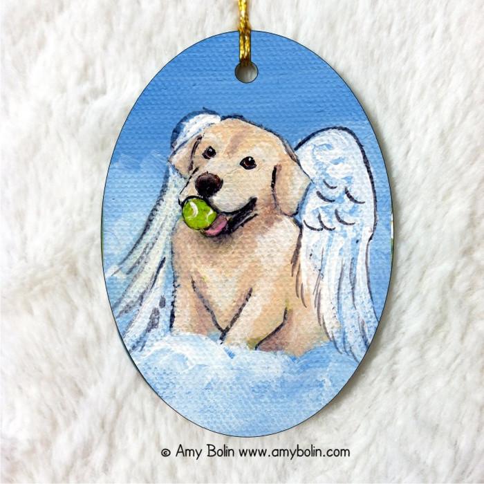 """""""Playful Angel"""" Yellow Labrador Retriever Oval Ceramic Ornament"""