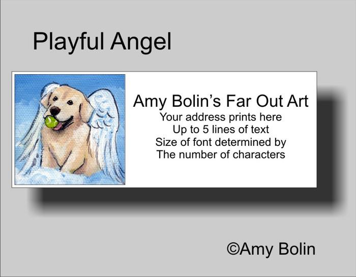 """Playful Angel"" Yellow Labrador Retriever Address Labels"