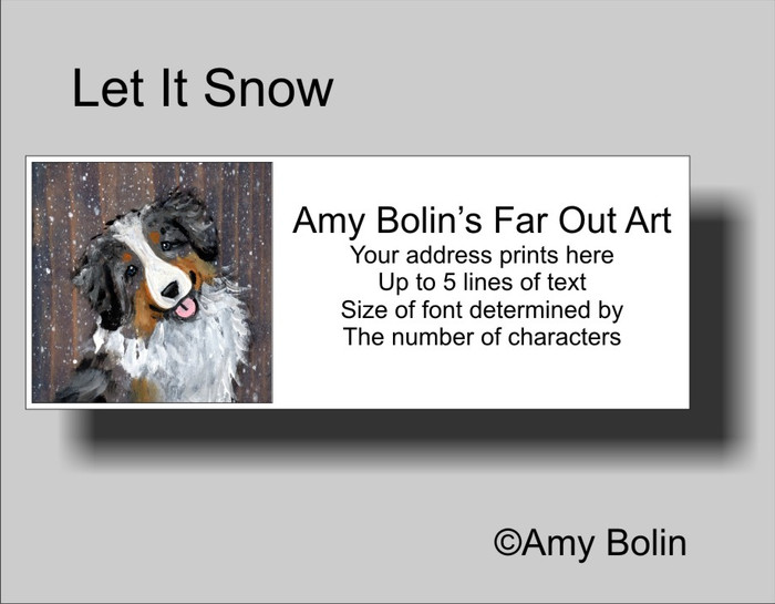 """Let It Snow"" Australian Shepherd Address Labels"