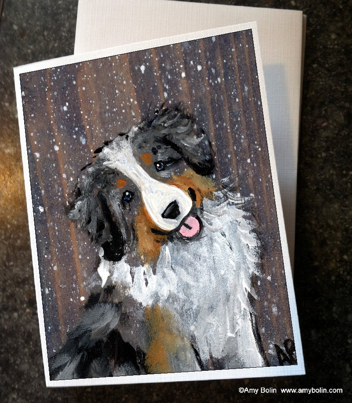 """Let It Snow"" Australian Shepherd Note Cards"