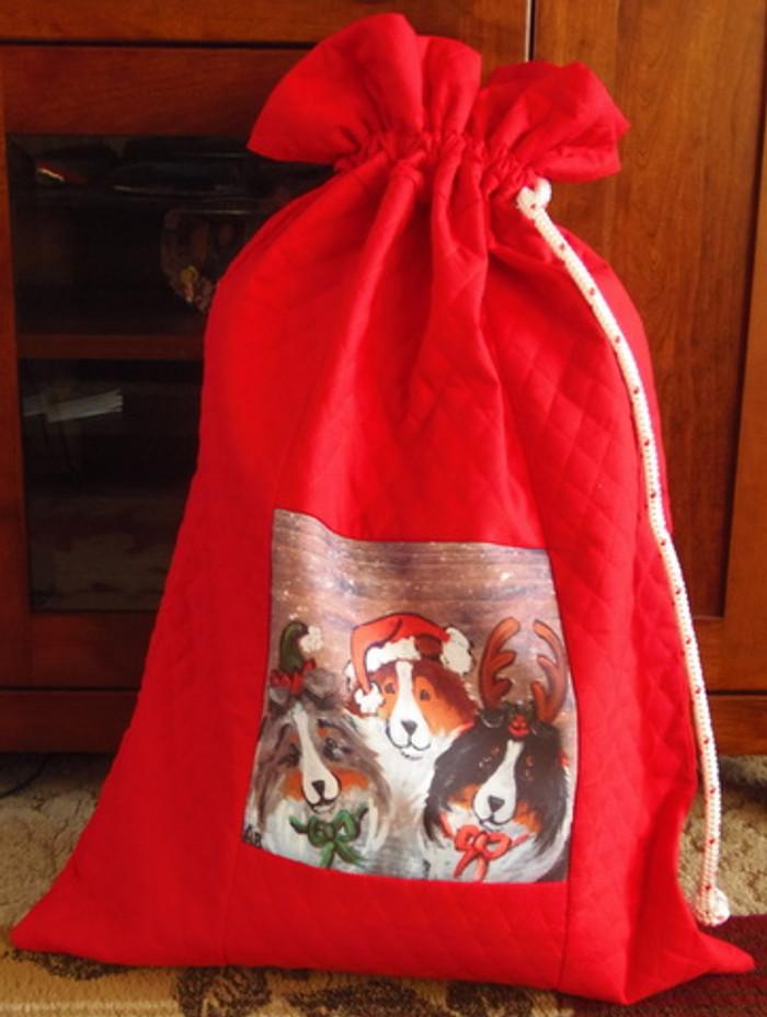 """Handmade Holiday Gift Bag             """"Christmas Buddies""""    Shetland Sheepdogs       y Dawn Johnson"""