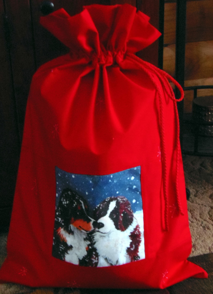 "Handmade Holiday Gift Bag             ""Puppy Kisses""    Saint Bernard and Berenesse Mountain Dog        Dawn Johnson"