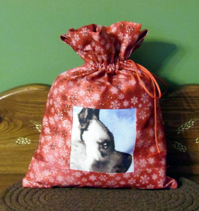 """Small  """"13"""" by 9 1/2""""    Handmade Gift Bag          """"Pout""""     Norwegian Elkhound Dog      By Dawn Johnson"""