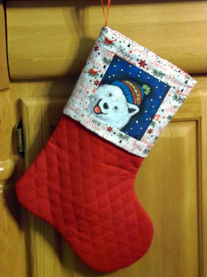 "Handmade Stocking     ""Snowy Weather""      Samoyed      By Dawn Johnson"