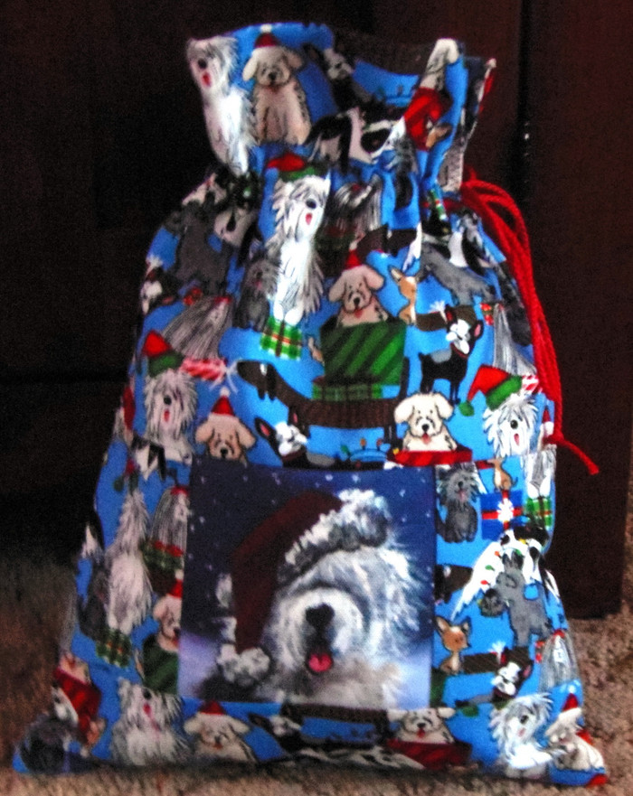 "Small  ""13"" by 9 1/2""    Handmade Gift Bag          ""Shaggy Claws""     Old English Sheepdog   By Dawn Johnson"