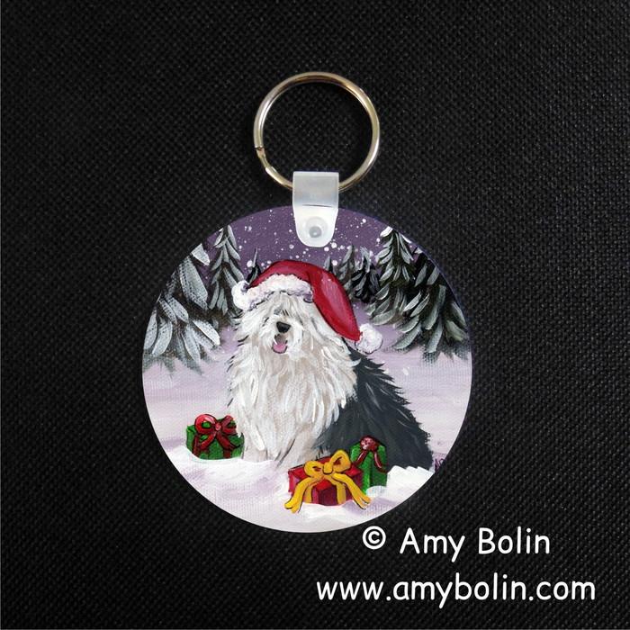 """Merry Christmas"" Old English Sheepdog Keychain"