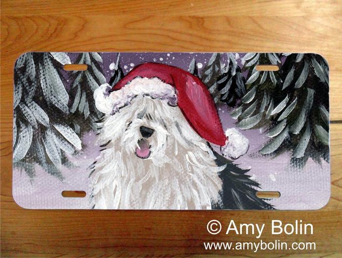 """Merry Christmas"" Old English Sheepdog License Plate"