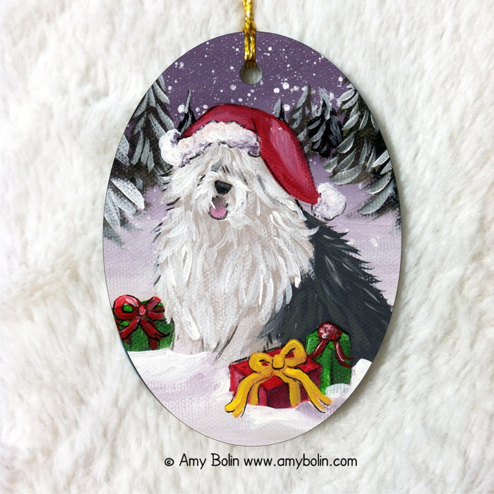 """Merry Christmas"" Old English Sheepdog Oval Ornament"