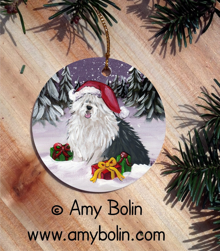 """Merry Christmas"" Old English Sheepdog Round Ornament"