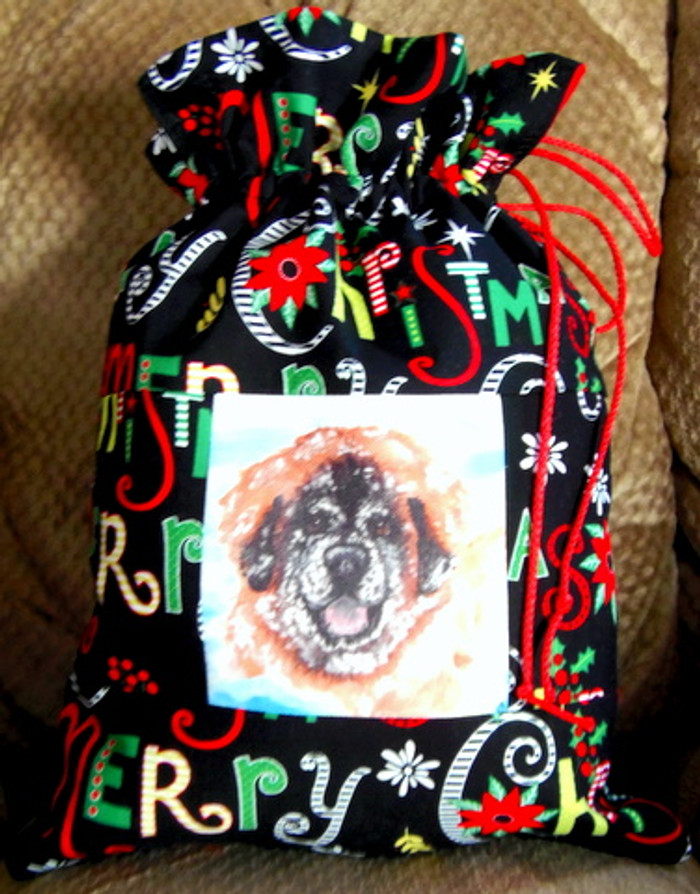 "Whimsical holiday Small  ""13"" by 9 1/2""    Handmade Gift Bag          ""Bently's Snow Day""          Leonberger Dog     By Dawn Johnson"