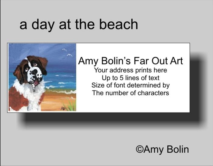 ADDRESS LABELS · A DAY AT THE BEACH · SAINT BERNARD · AMY BOLIN