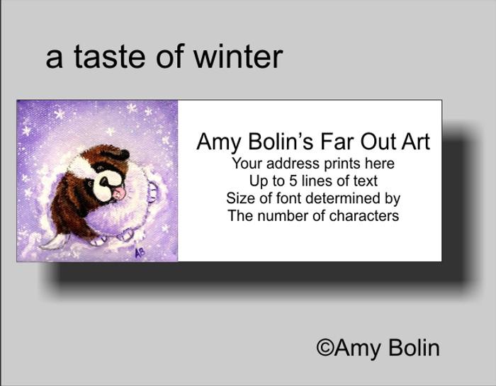ADDRESS LABELS · A TASTE OF WINTER · SAINT BERNARD · AMY BOLIN