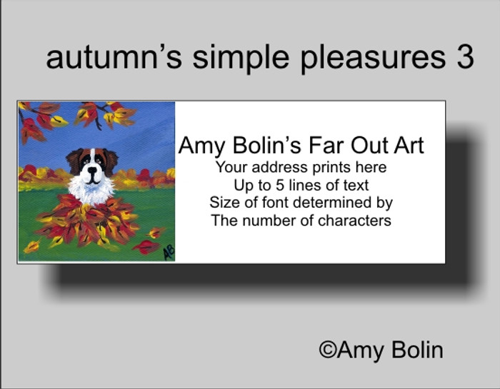 ADDRESS LABELS · AUTUMN'S SIMPLE PLEASURES 3 · SAINT BERNARD · AMY BOLIN