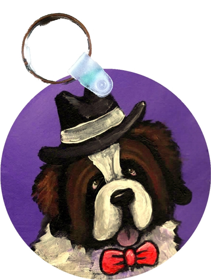 KEY CHAIN · DAPPER DOG · SAINT BERNARD  · AMY BOLIN