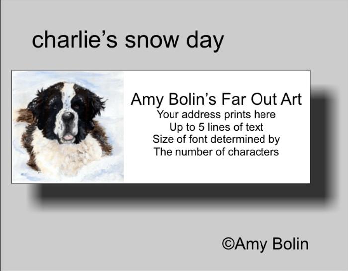 ADDRESS LABELS · CHARLIE'S SNOW DAY · SAINT BERNARD · AMY BOLIN