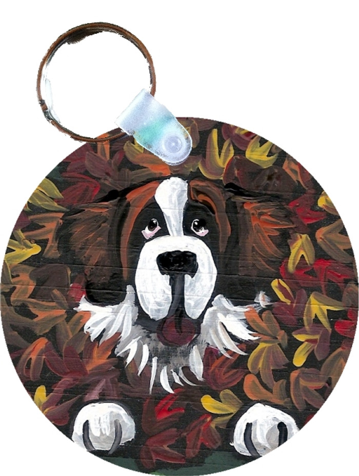 KEY CHAIN · HAPPINESS IS A PILE OF LEAVES · SAINT BERNARD  · AMY BOLIN
