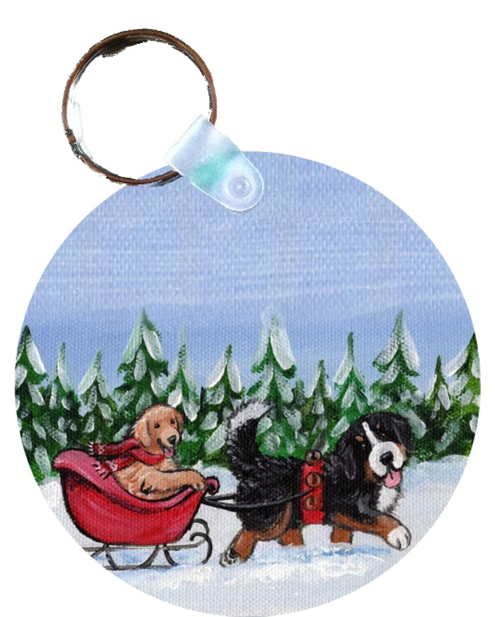 KEY CHAIN · A WINTRY RIDE · BERNESE MOUNTAIN DOG & GOLDEN RETRIEVER  · AMY BOLIN