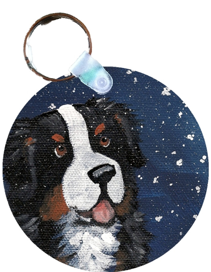 KEY CHAIN · COUNTING SNOWFLAKES · BERNESE MOUNTAIN DOG  · AMY BOLIN