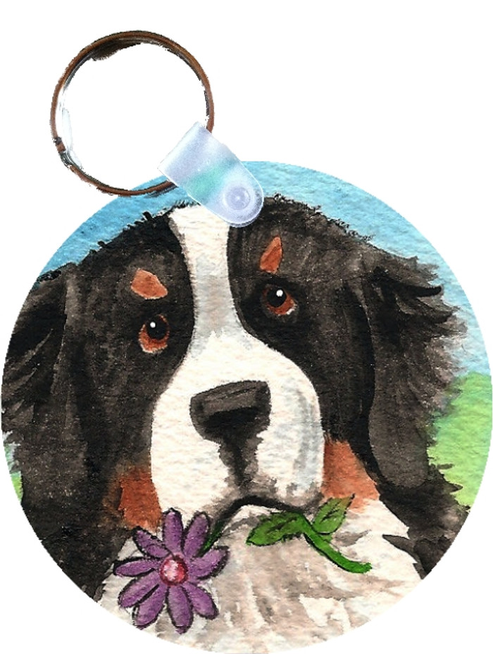 KEY CHAIN · I SAW THIS FLOWER · BERNESE MOUNTAIN DOG  · AMY BOLIN