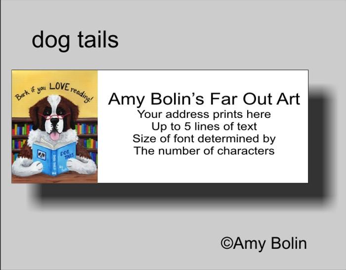 ADDRESS LABELS · DOG TAILS· SAINT BERNARD · AMY BOLIN