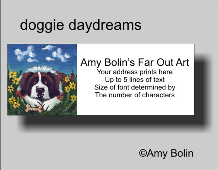 ADDRESS LABELS · DOGGIE DAYDREAMS · SAINT BERNARD · AMY BOLIN
