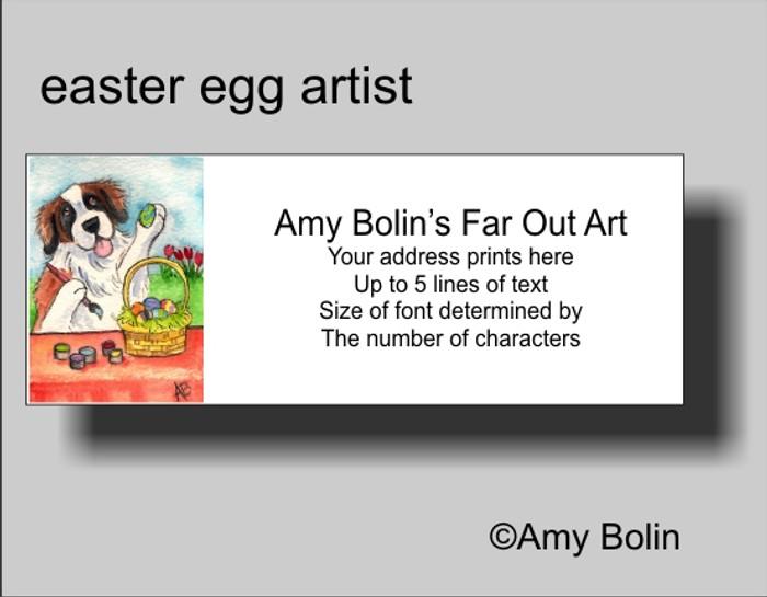 ADDRESS LABELS · EASTER EGG ARTIST · SAINT BERNARD · AMY BOLIN