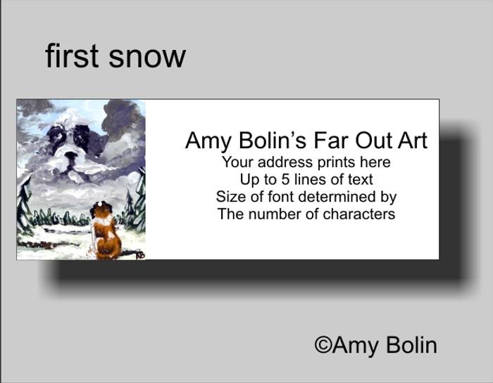 ADDRESS LABELS · FIRST SNOW · SAINT BERNARD · AMY BOLIN