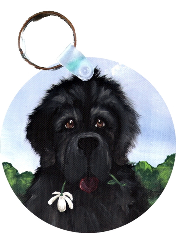 KEY CHAIN · I SAW THIS FLOWER & THOUGHT OF YOU · BLACK NEWFOUNDLANDS  · AMY BOLIN