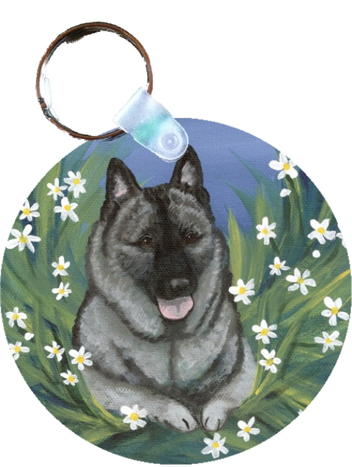 KEY CHAIN · DAISIES 1 · NORWEGIAN ELKHOUND  · AMY BOLIN