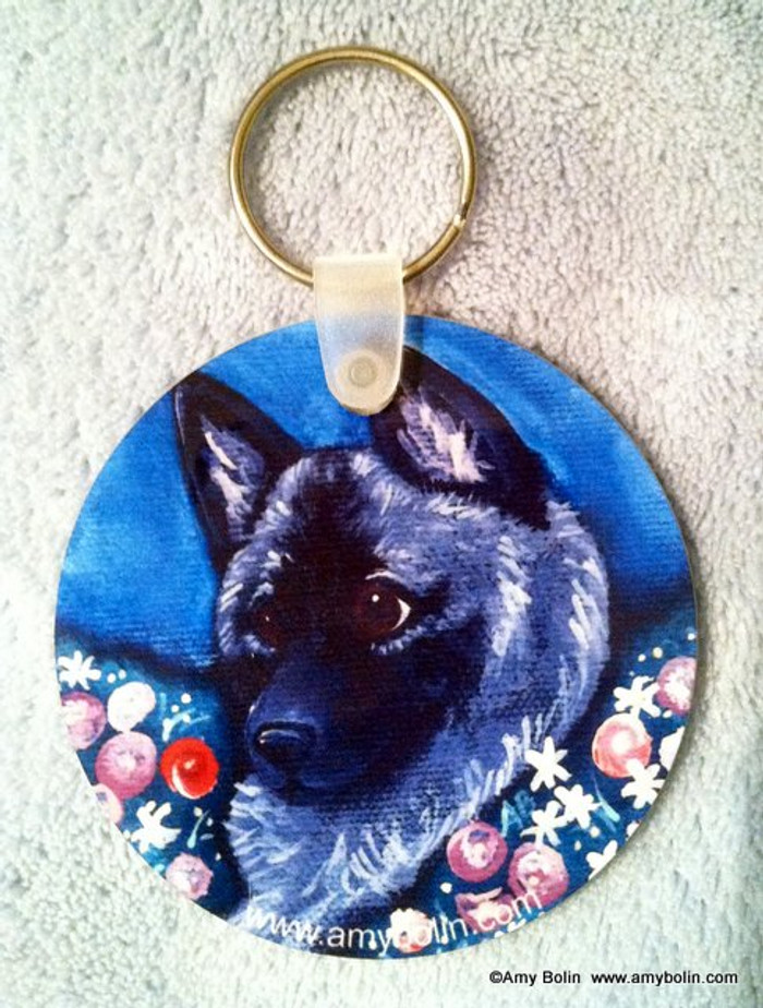 KEY CHAIN · MOM'S FAVORITE DAISY · NORWEGIAN ELKHOUND  · AMY BOLIN
