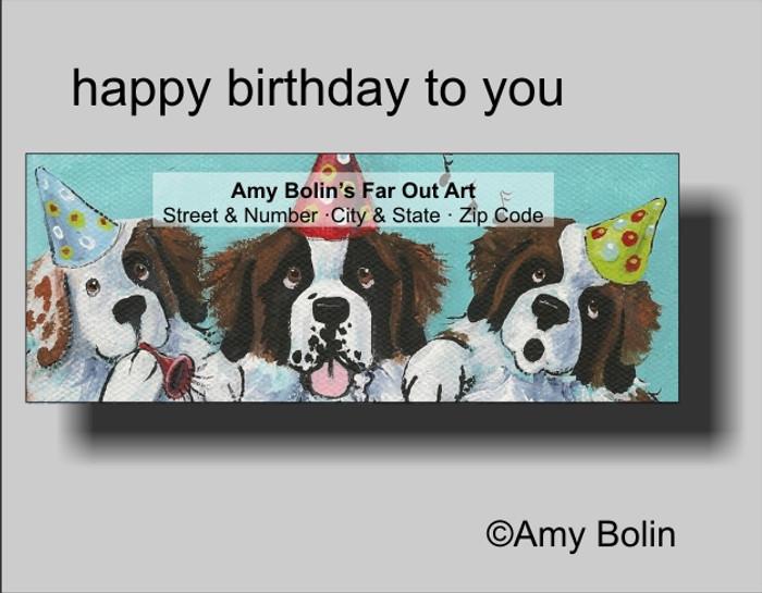 ADDRESS LABELS · HAPPY BIRTHDAY TO YOU · SAINT BERNARD · AMY BOLIN