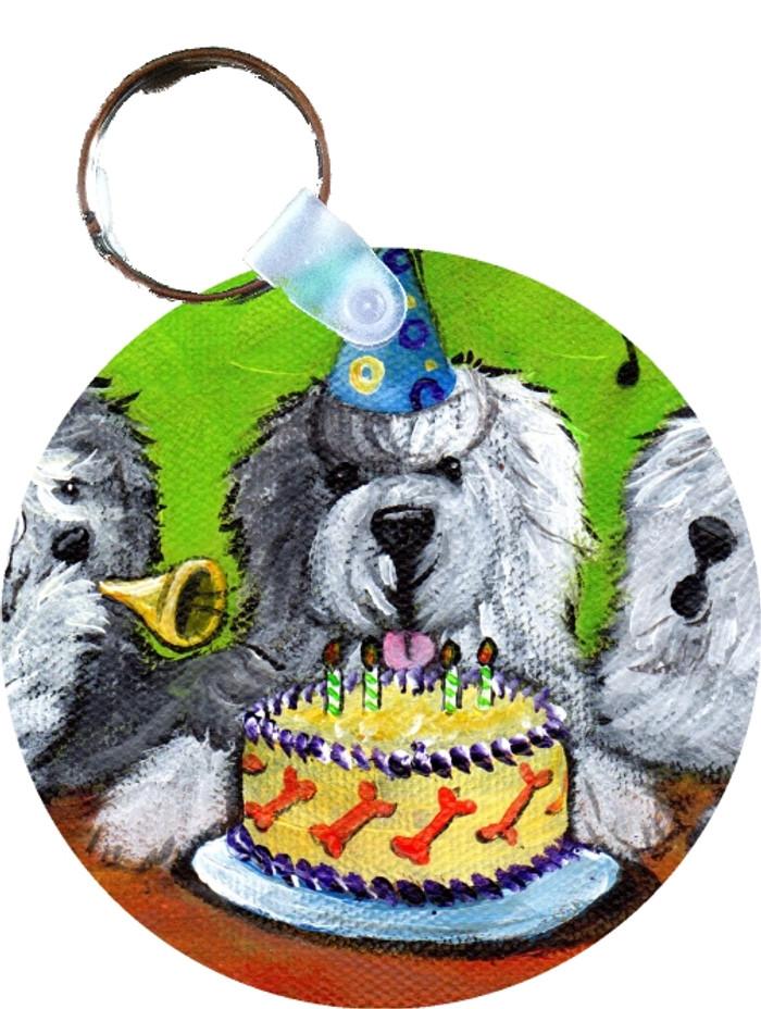KEY CHAIN · HAPPY BIRTHDAY TO YOU · OLD ENGLISH SHEEPDOG  · AMY BOLIN